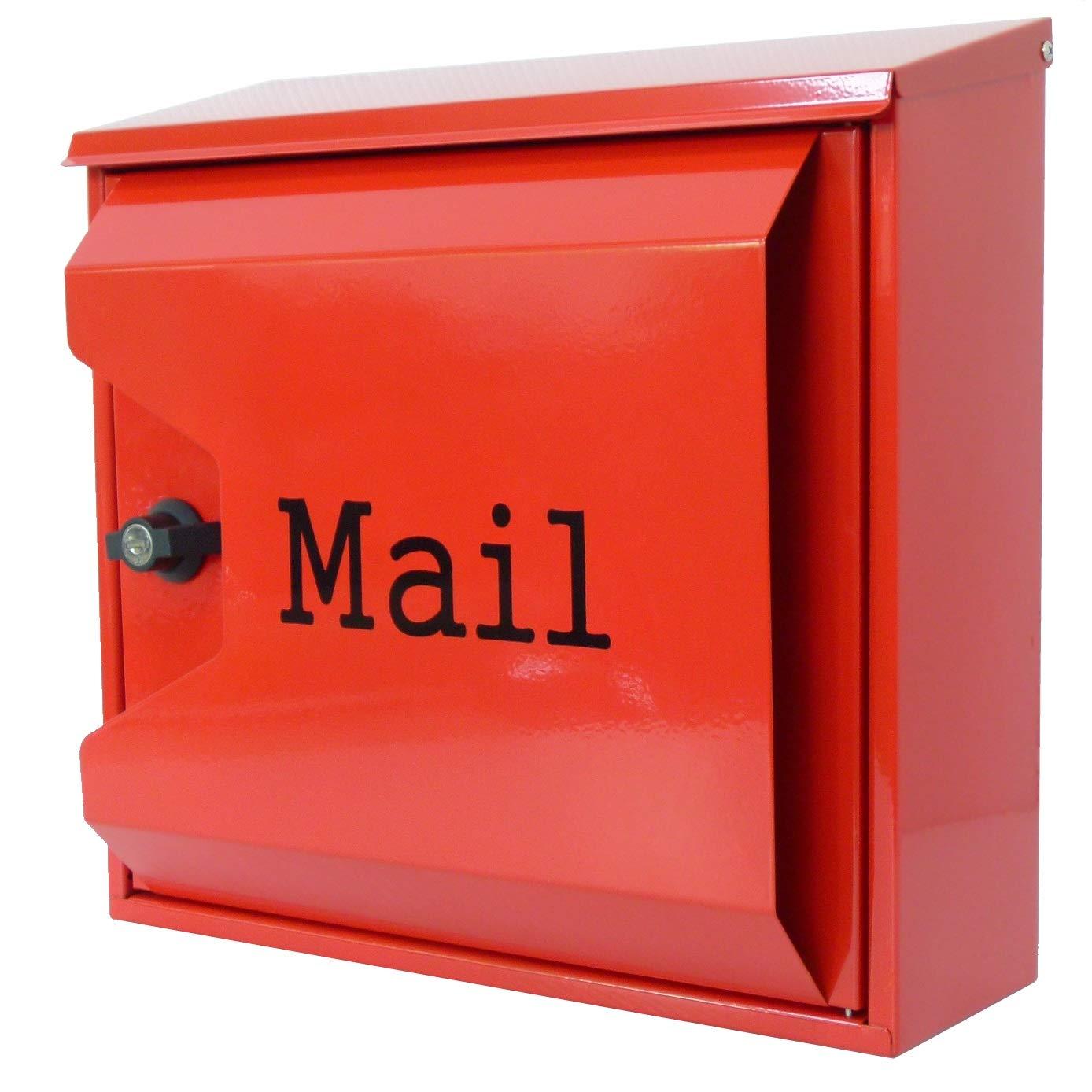 郵便ポスト メールボックス壁掛け 赤色 ステンレス m041   B008I5BQS4