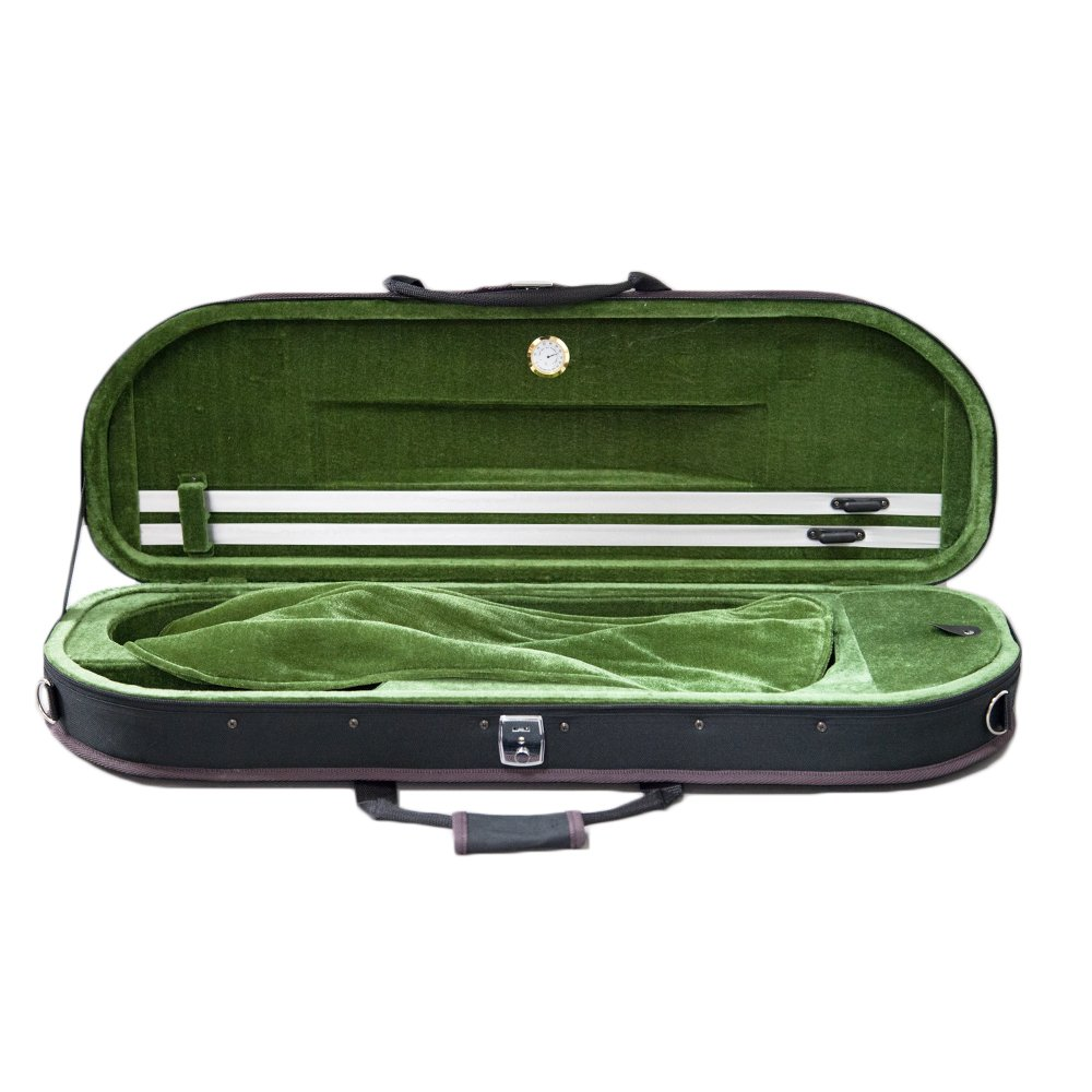 NEW Sky Violin Halfmoon Case VNCHM Lightweight with Hygrometer And Shoulder Strap Multiple Colors (Black/Grass Green)