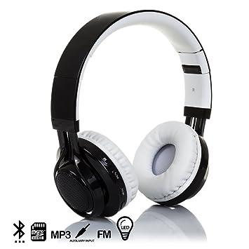 Silica DMX017BKWH DMX017BKWH - Cascos Bluetooth con Radio incorporada, Lector de Micro SD y Luces LED Negro/Blanco: Amazon.es: Electrónica