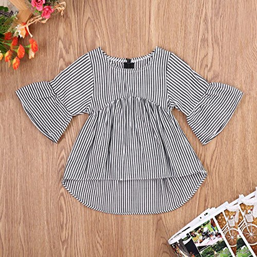 Baby Girl Stripe Top Blouse Autumn Ruffle Sleeve Shirt Casual Clothes (Black+White, 3-6 Months) by Lahyra (Image #1)