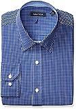 Nautica Mens Check Point Collar Dress Shirt