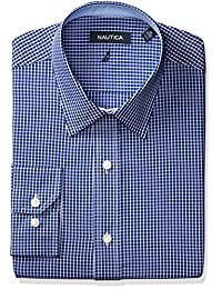 Nautica Men's Check Point Collar Dress Shirt