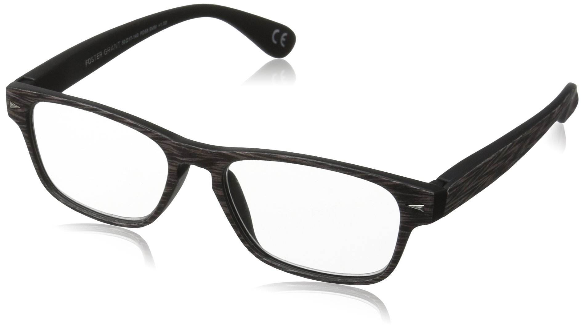 Foster Grant Men's Paxton 1017557-175.COM Wayfarer Reading Glasses, Chrome, 1.75