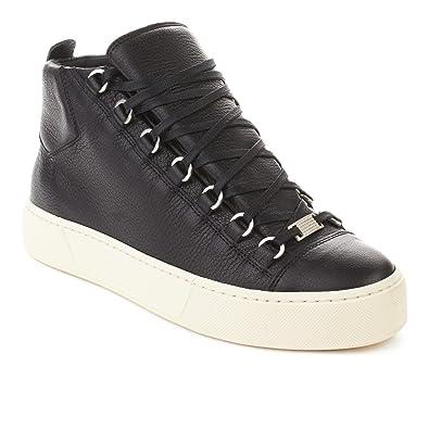 20935fc862981 Balenciaga Men s Arena Leather High Top Sneaker Shoes Black  Amazon ...
