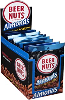 product image for BEER NUTS Almonds - 12-Count 2oz Single Serve Bags, Low Sodium, Gluten Free Almonds