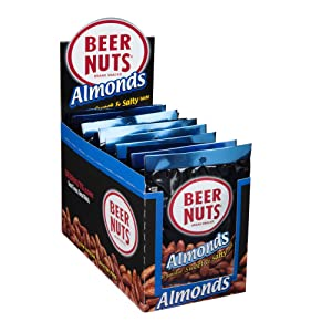 BEER NUTS Almonds - 12-Count 2oz Single Serve Bags, Low Sodium, Gluten Free Almonds
