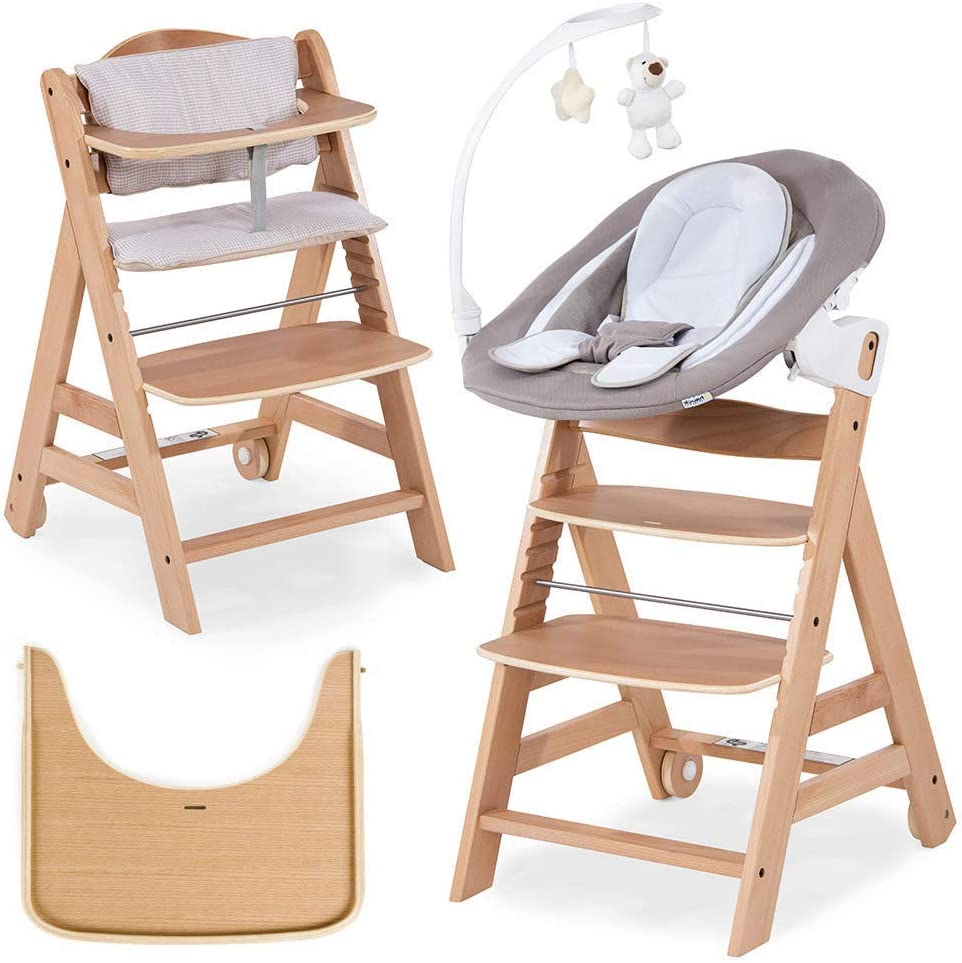 Hauck Beta Plus Newborn Set Deluxe - Trona evolutiva con Hamaca reclinable y móvil, cojín y bandeja - Trona bebe convertible- Silla Trona Madera haya - Nature/Beige