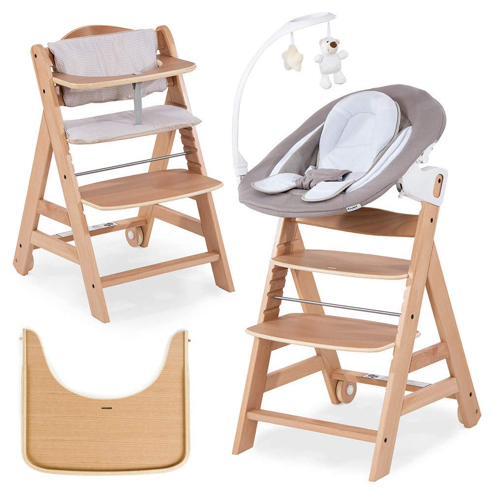 h/öhenverstellbar Sitzpolster Baby Holz Hochstuhl ab Geburt mit Liegefunktion//inkl Hauck Beta Plus Newborn Set Natur Beige Tisch//mitwachsend Aufsatz f/ür NeugeboreneB/ärchen beige