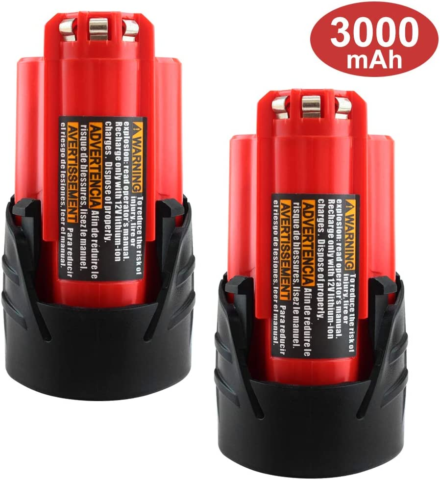 【Upgraded to 3.0Ah】 2Packs 12V 3000mAh Lithium-ion Replacement for Milwaukee M12 Battery XC 48-11-2411 48-11-2420 48-11-2401 48-11-2402 48-11-2401 Cordless Tools Batteries