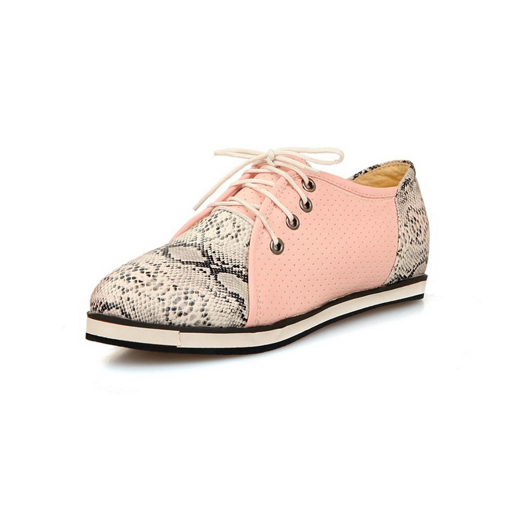 BalaMasa Womens Lace-up Assorted Color Python Pattern Pink Soft Material Flats-Shoes - 7 B(M) US