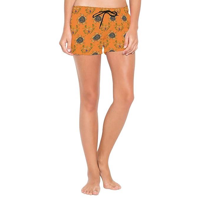 e5c2e7d334 Amazon.com: NWTSPY Monkey Pattern Orange Women's Sport Beach Swim Shorts  Board Shorts Swimsuit with Mesh Lining: Clothing