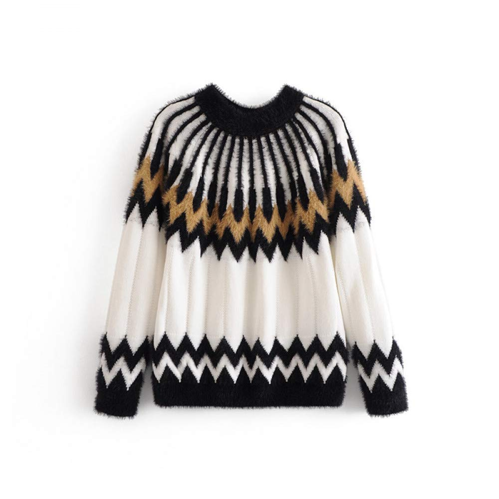 FUHENGMY Pullover Geometrische Gestrickte Winter Pullover Casual O Hals Langarm Pullover Herbst Frauen OverGrößed Pullover
