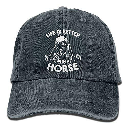 Michael Rong Life is Better with A Horse-1 Vintage Jeans Baseball Cap for Men and Women Navy
