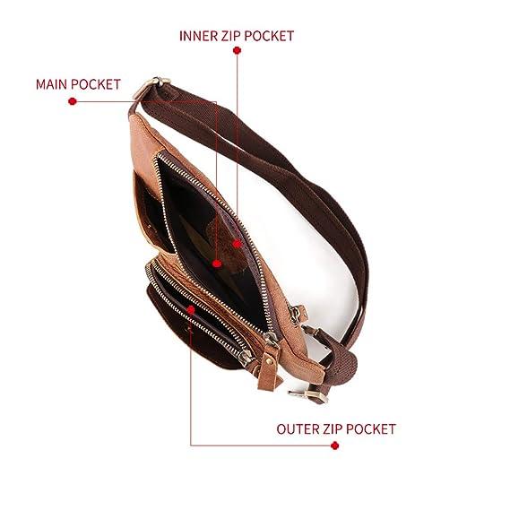 BAIGIO Riñonera de Cuero Hombre Mujer de Moda Bolsa Cinturón Piel Vintage Bolsos para Teléfonos Bandolera Multifuncional Bolsillos Ajustable Bolso de