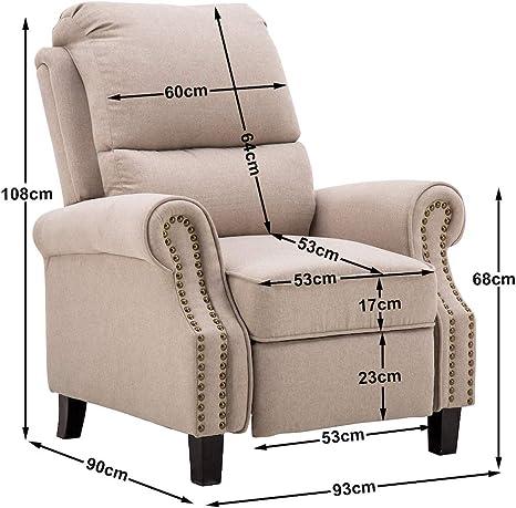 mcombo 7291bg fauteuil de relaxation en tissu beige