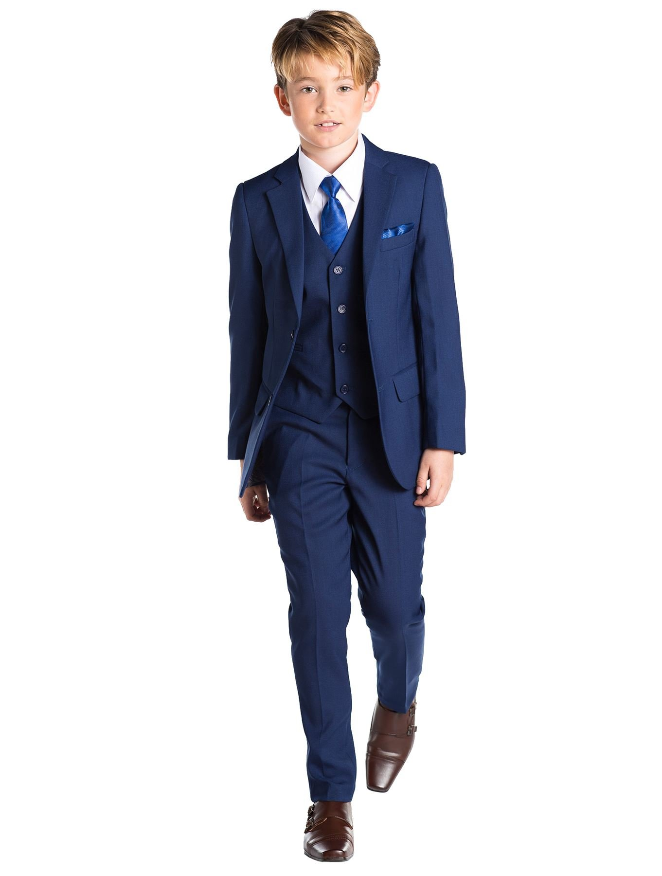 Paisley of London, Kingsman Blue, Boys Slim Fit Occasion Wear, Kids Formal Wedding Suit Set, 14