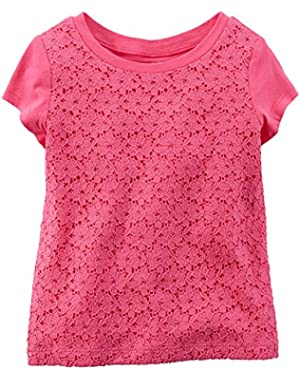 Girl S/s Lace Tee; 5t; Pink