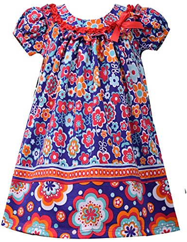 Twin Print Knit Dress (Little Girls Purple/Multi Twin Floral Print Knit Trapeze Dress (3T, Purple/Multi))