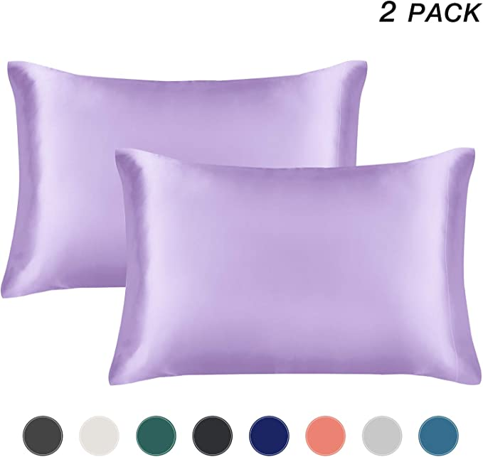 Yeboup 2 Pack Silky Satin Pillowcase for Hair and Skin King Size 20x40 Taupe Camel with Envelope Closure