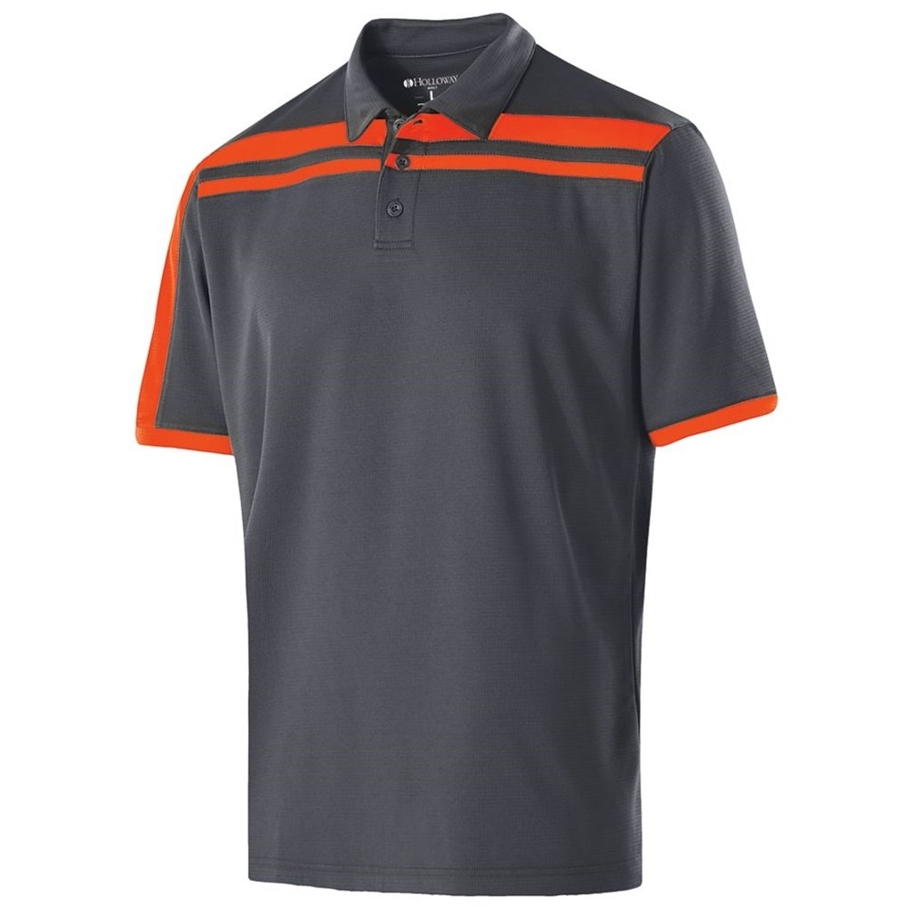 Holloway Dry-Excel Mens Charge Polo (Medium, Carbon/Orange) by Holloway