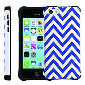 [ManiaGear] SLIM Rugged Hybrid Image Protector Cover (White Blue Chevron) for Iphone 5C