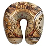 Laurel Neck Pillow Antique Pocket Watch Travel U-Shaped Pillow Soft Memory Neck Support for Train Airplane Sleeping