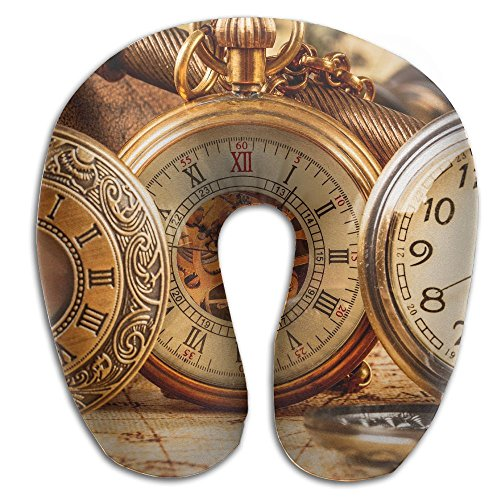Laurel Neck Pillow Antique Pocket Watch Travel U-Shaped Pillow Soft Memory Neck Support for Train Airplane Sleeping by Laurel