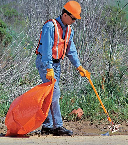ArcMate Volunteer Kit PRO, Includes ANSI Class II Reflective Safety Vests with Hook and Loop Closure and Orang-U-Tongs Trash Reacher Grabber Pick-up Tools, Orange, Large, 6-Pack of Each (8006) by ArcMate (Image #3)