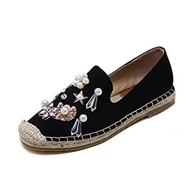 1TO9 Womens Beaded Low-Cut Uppers No-Closure Square-Toe Urethane Flats Shoes