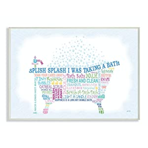 Stupell Home Décor Splish Splash Typography Bathroom Wall Plaque, 10 x 0.5 x 15, Proudly Made in USA