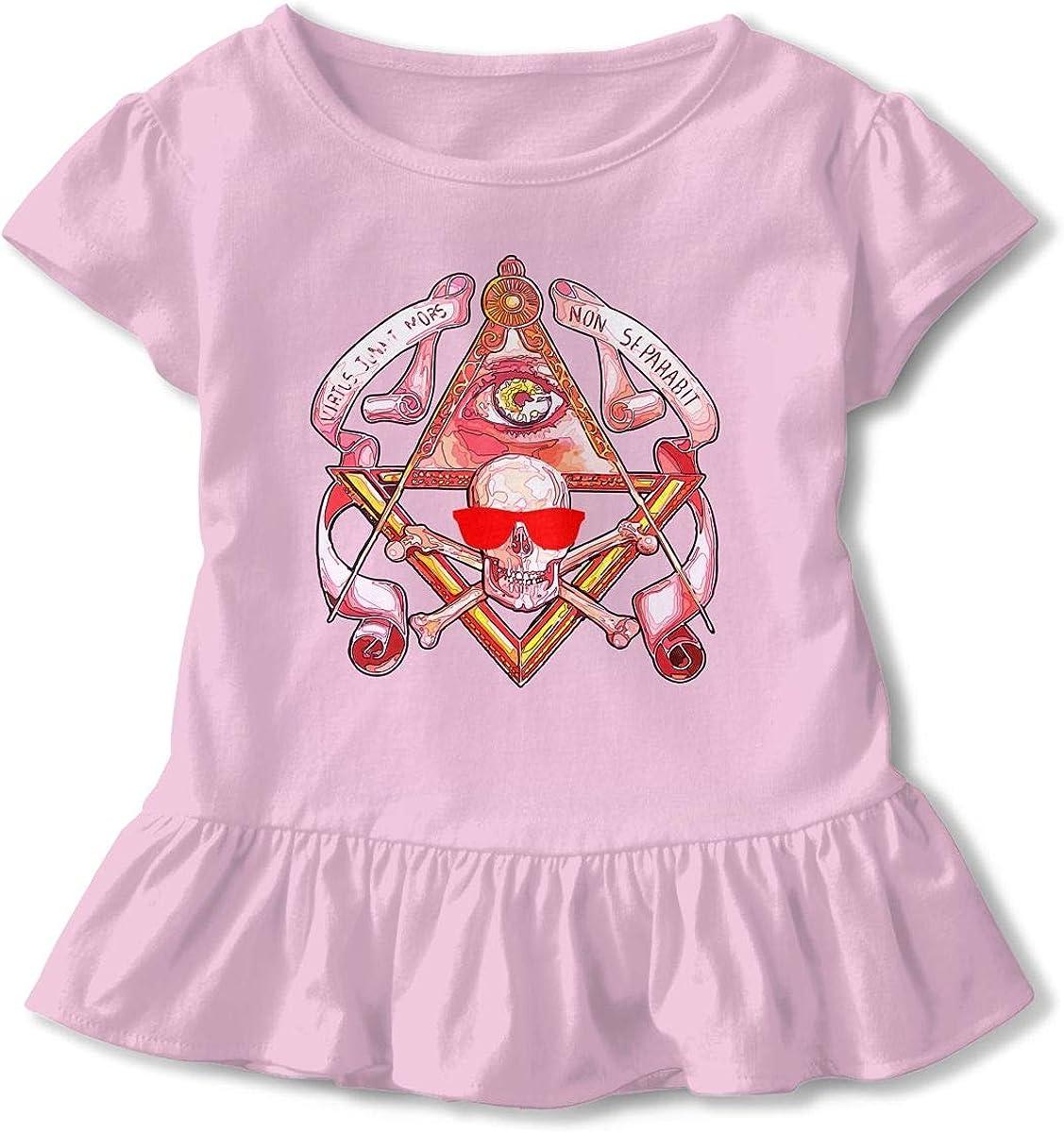 Cheng Jian Bo Skull Masonic Eyes of Horus Toddler Girls T Shirt Kids Cotton Short Sleeve Ruffle Tee