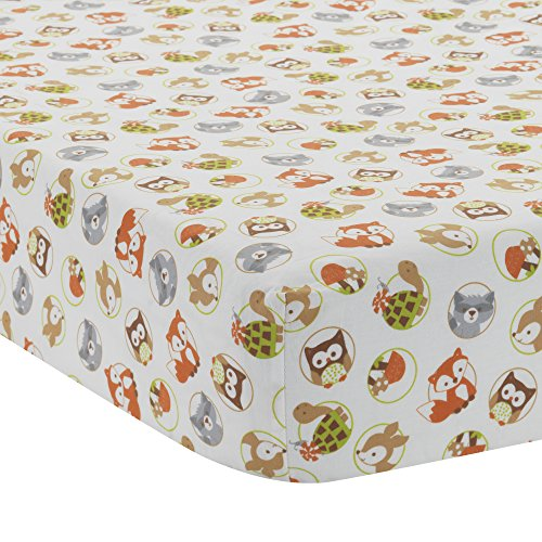Bedtime Originals Friendly Forest Woodland Fitted Crib Sheet, Green/Brown/White ()