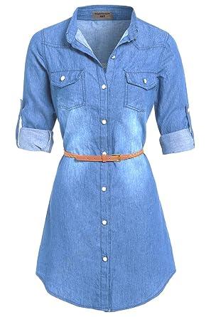 cb34c0e01bc SS7 NEW Stonewash Denim Blue Shirt Dress Sizes 8 - 14: Amazon.co.uk:  Clothing