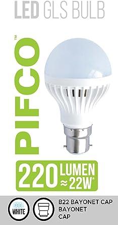 2 X PIFCO Warm White LED GLS Screw Cap Light Bulb Lumen 22W