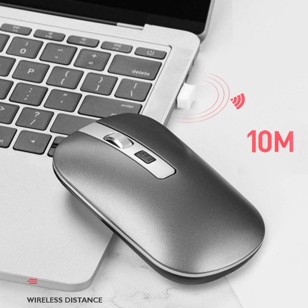Dual-Mode 2.4GHz Wireless Bluetooth 5.1 Optical USB Mouse 1600DPI Rechargeable Mute Mice Silent Mouse Gaming Mouse White Rechargeable Wireless Mouse for Laptop//Note Book//PC