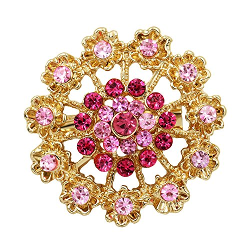 Mutian Fashion Lot 24pc Mixed Color Rhinestone Crystal Flower Brooches Pins by Mutian Fashion (Image #2)