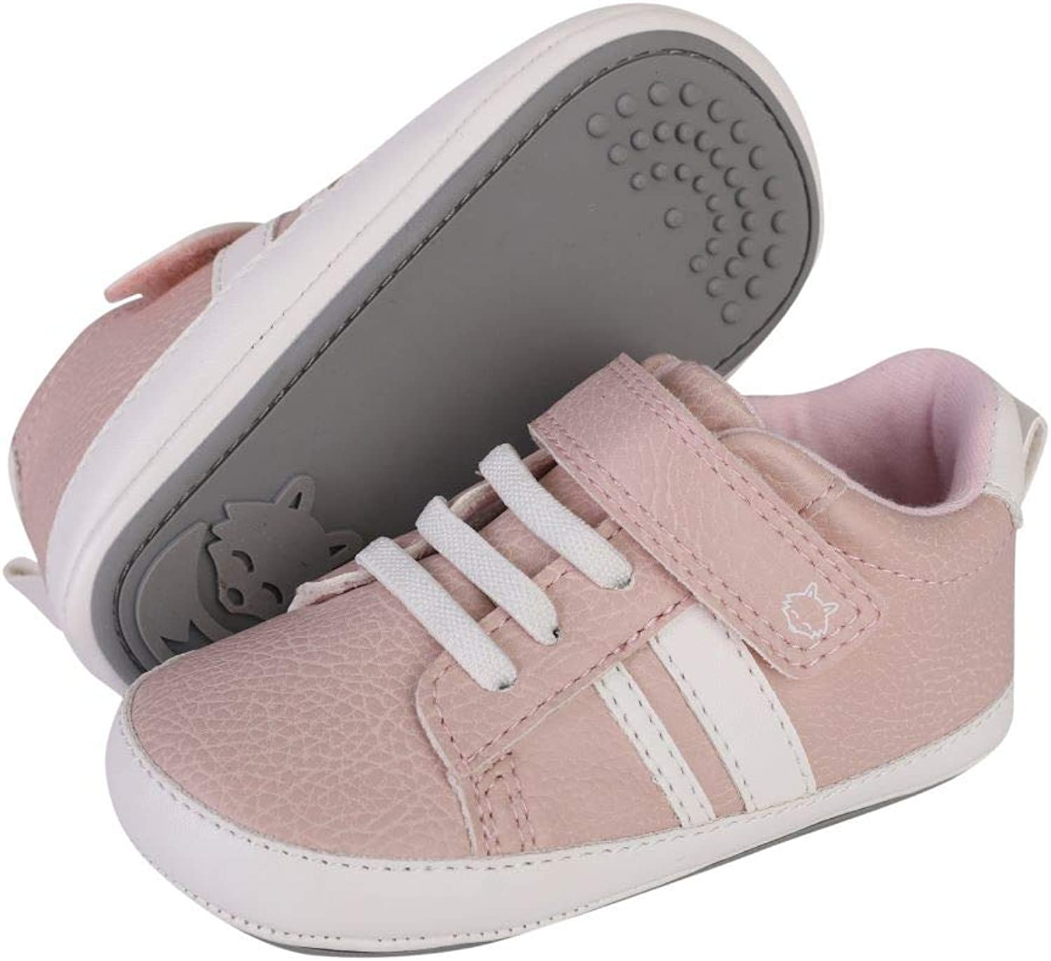 HIPFOX Baby Anti-Slip Rubber Sole Shoes Soft Indoor Sneakers for First Walkers Infants /& Crawlers Ages 6-24 Months