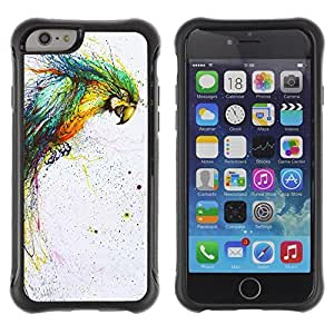 Hybrid Anti-Shock Defend Case for Apple iPhone 5s Inch / Color Splatter Color Parrot