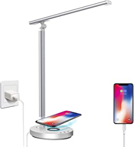 XZN LED Desk Lamp with Wireless Charger, USB Charging Port, Dimmable Touch Control 5 Brightness Levels & 5 Color Modes, 45 Min Auto Timer Eye-Caring, Foldable Table Lamp for Home Office with Adapter