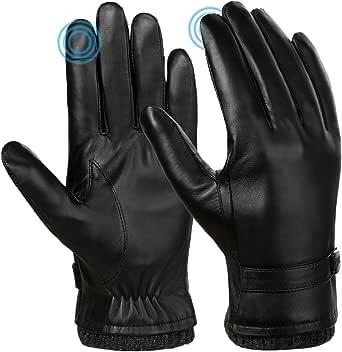 VBIGER Hombres Guantes de invierno de cuero genuino Todos los dedos Guantes con pantalla táctil Guantes de moto de conducción cálidos Fleece Guante de trabajo