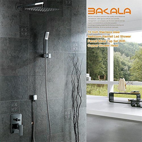 Bakala? Luxury 10 Inch Stainless Steel Bathroom Rainfall Shower Faucets Head Shower Set with Hand Shower ( Chrome) by Bakala by Bakala (Image #1)