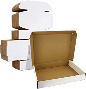 HORLIMER 13x10x2 inches Shipping Boxes Set of 25, White Corrugated Cardboard Box Literature Mailer