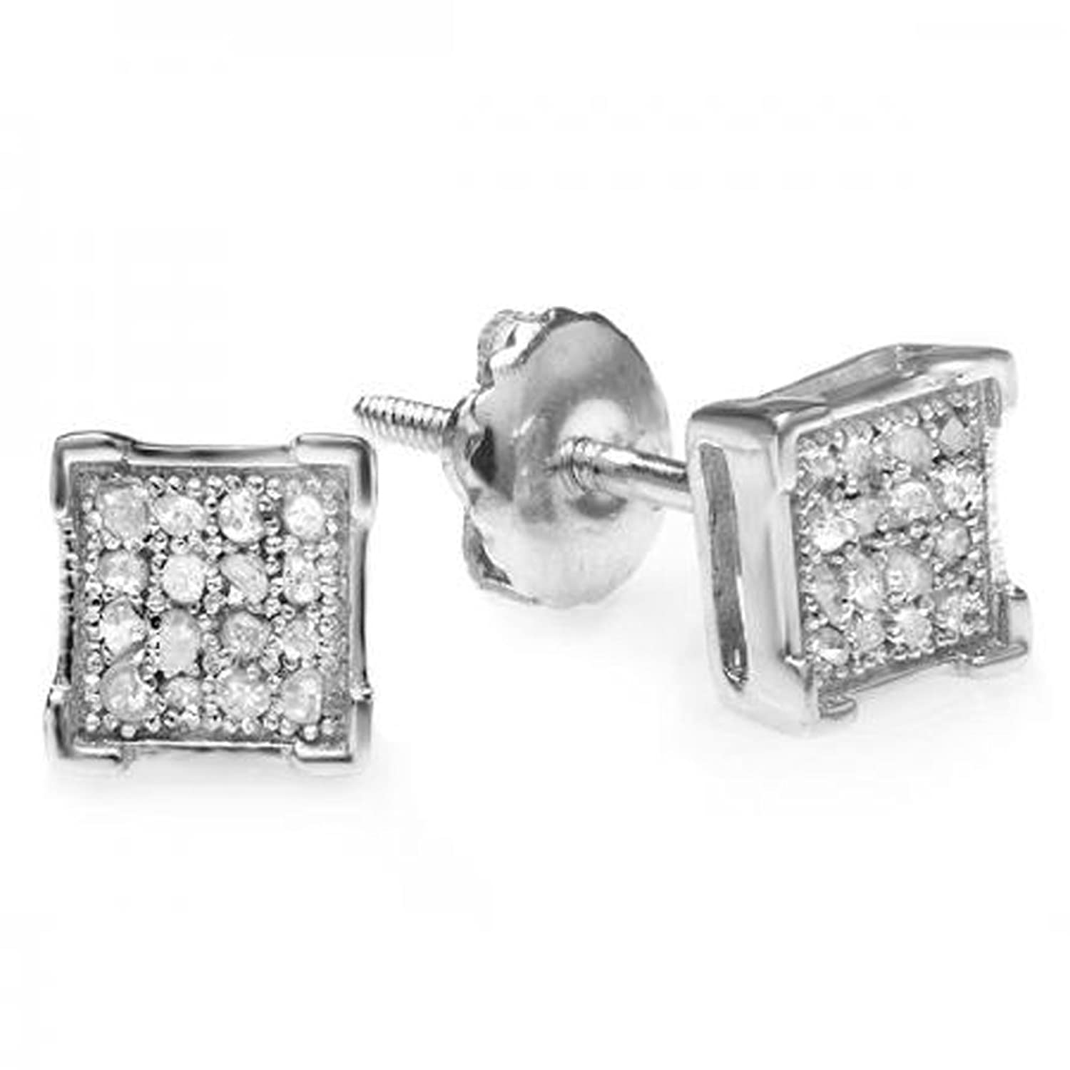 i tw white in cut square gold diamond princess carat stud ctw h earrings