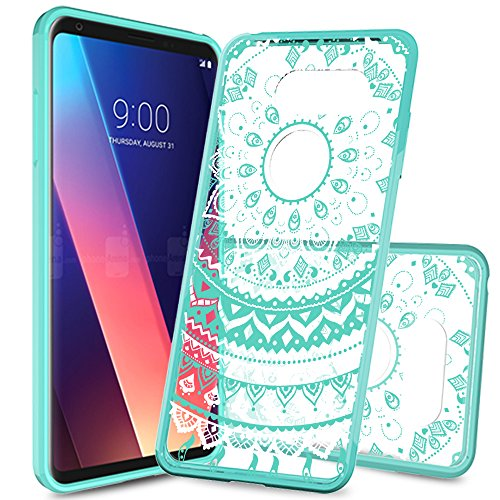 LG V30 Clear Case,AnoKe LG V30 Plus Cases with Screen Protector Scratch Resistant Mandala Cute Girls Women Ultra Thin Slim Fit TPU Bumper Hybrid Hard Protective Phone Cover for LG V30 V30+ TM CH Mint