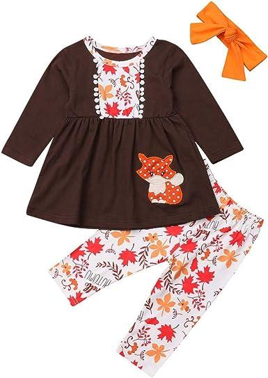 US Newborn Kids Baby Girls Tops T-shirt Fox Pants Leggings Thanksgiving Outfit