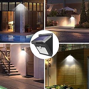 Zookki Upgraded 28 LEDs Wireless Solar Motion Sensor Light Rechargeable Waterproof Security Lights Powerful for Outdoors Wall Garden Patio Yard Pathway Weatherproof Outdoor Night Lighting 4 Pack