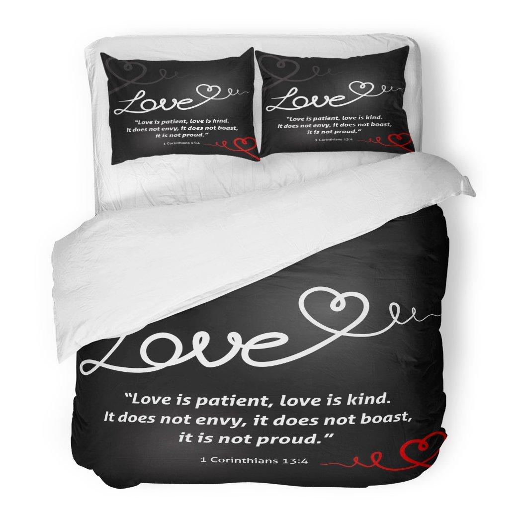 SanChic Duvet Cover Set Christian Love White Abstract Heart on Black is Patient Kind It Does Not Envy Boast Proud Decorative Bedding Set Pillow Sham Twin Size