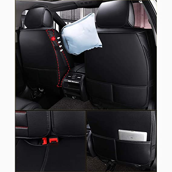 Amazon.com : Car seat cushion Full Set Front and Rear 5 Seats Universal Leather Cushions, Airbag Compatible, Style1 : Sports & Outdoors