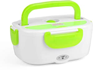 Vapeart 1.2L Portable Electric Heating Lunch Box Food Storage Toursion Portable Food Heater Car and Home Warmer Removable Lunch Container (Green, US Plug)