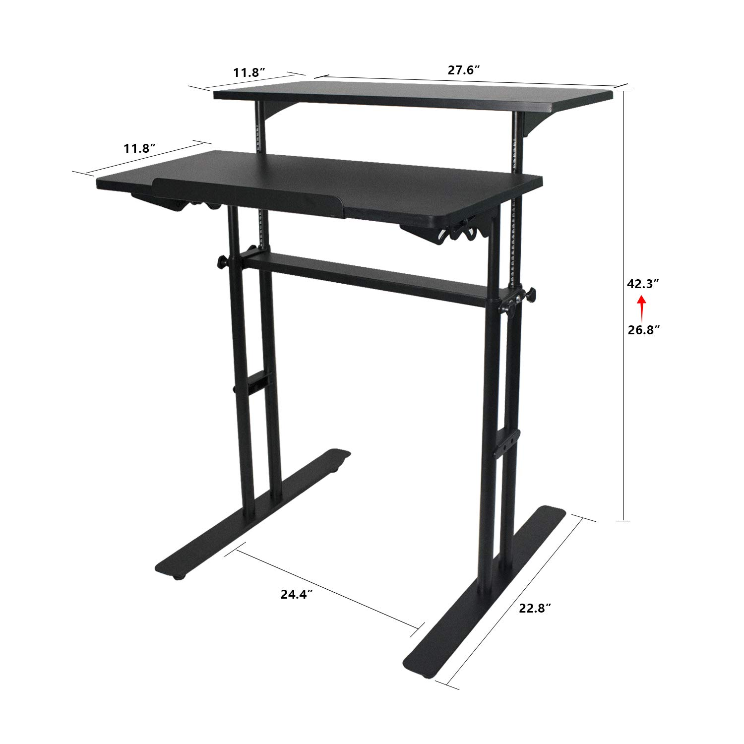 Heyesk Stand Up Desk Height Adjustable Home Office Desk with Standing (Black) by heyesk (Image #6)